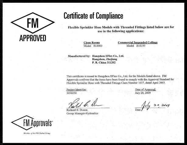 FM Approvals: Counterfeit Certificate of Compliance